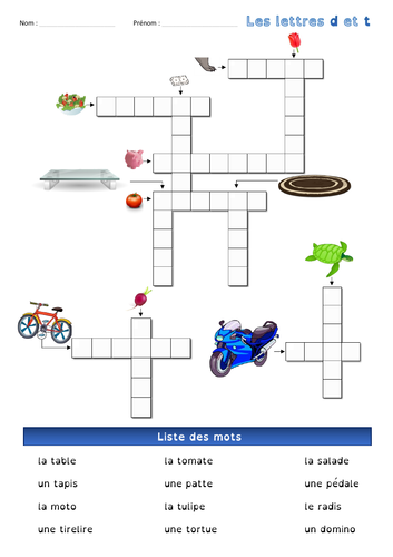 [French, basics 1st & 2nd grade] Crossword - Letters d and t