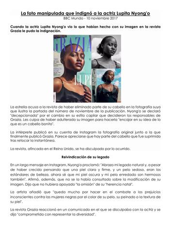La influencia de los idolos - Lupita Nyong'o retoque fotografico