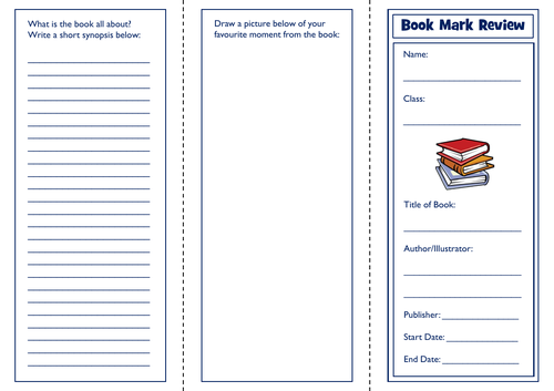 Bookmark Fiction Review Template