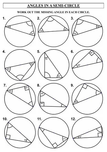 Circle Theorems Worksheets
