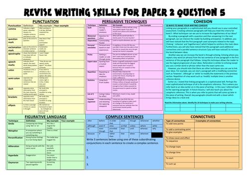 Paper 2 Question 5 Revision Mat Activity