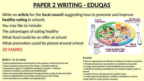 Paper 2 Writing task on healthy meals