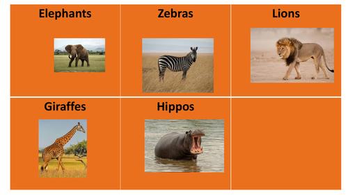 African Animals Colourful Semantics