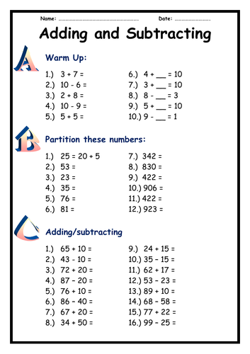Year 2 - Adding and Subtracting - not crossing tens boundary