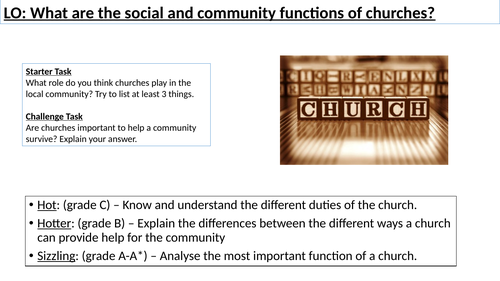 WJEC GCSE RE - Social & Community Functions of churches - Unit One