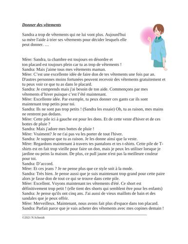 French Clothes Reading: Donner des vêtements Lecture