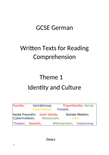 Reading Comprehension Tasks GCSE  German Theme 1 Identity and Culture