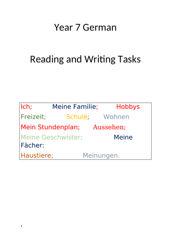 German Year 7   Collection of reading tasks