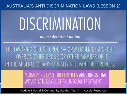 Social and Community Studies - Gender and Identity - Australia's anti discrimination laws (lesson 2)