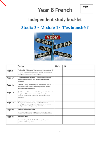 Studio 2 Module 1 T'es branche? Independent study booklet