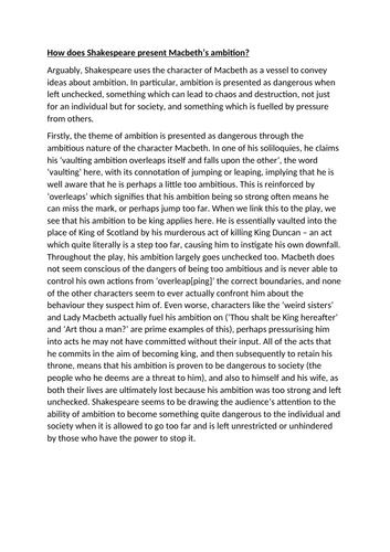 GCSE Macbeth thesis and model paragraph - Macbeth's ambition