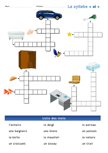"""[French, basics 1st & 2nd grade] Crossword - The syllable """"oi"""""""