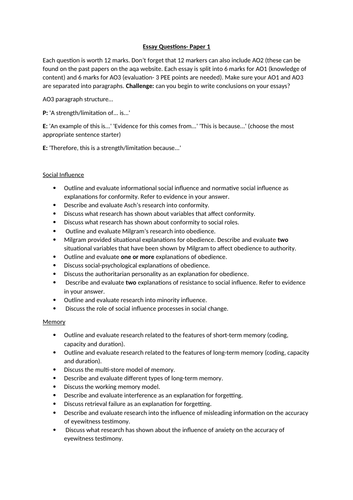 List of Essay Questions for AQA Psychology