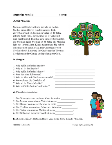 Easy German Reading on Family Tree: Die Familie von Stefanie