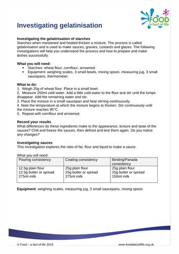Investigating gelatinisation worksheet