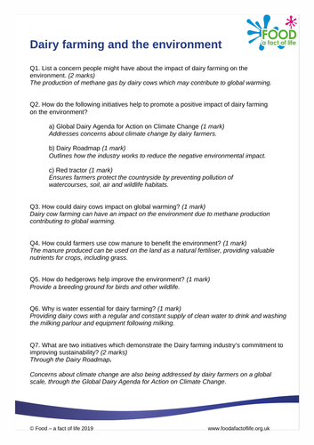 Dairy farming and the environment answer sheet
