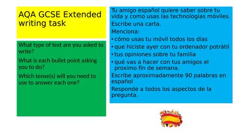 AQA GCSE Spanish Writing Exam Practice 90 words