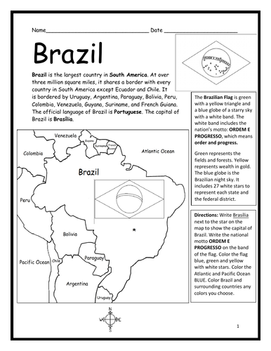 BRAZIL - Introductory Geography Worksheet - Black and White