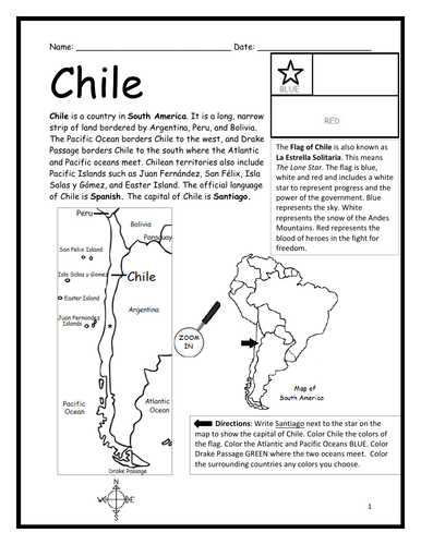 CHILE - Introductory Geography Worksheet - Black and White