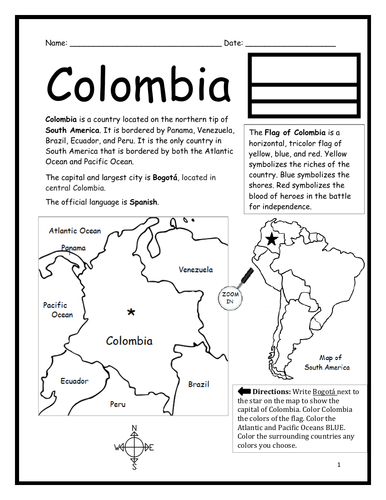 COLOMBIA - Introductory Geography Worksheet - Black and White