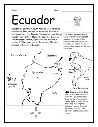 ECUADOR - Introductory Geography Worksheet - Black and White