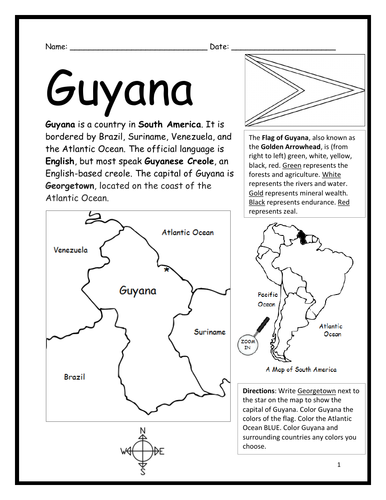 GUYANA - Introductory Geography Worksheet - Black and White