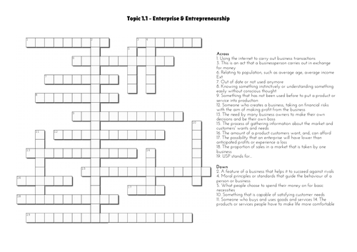 GCSE Business - Topic 1.1 Crossword