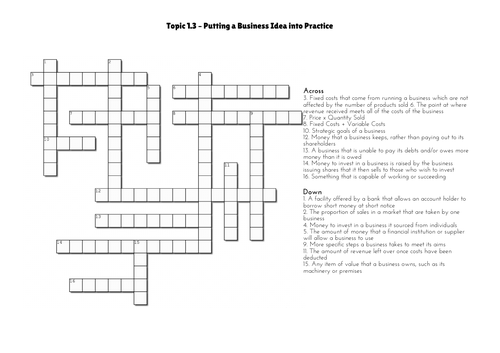 GSCE Business - Topic 1.3 Crossword