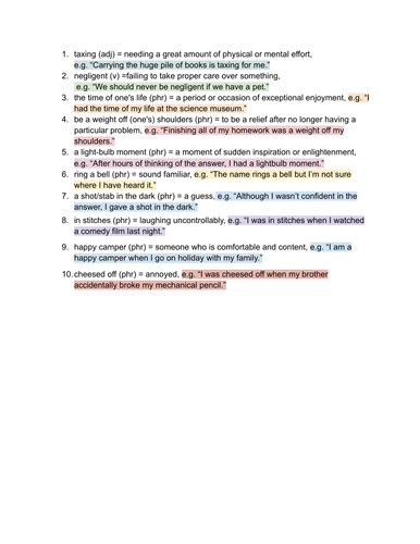 PET vocabulary, writing task and sample 1