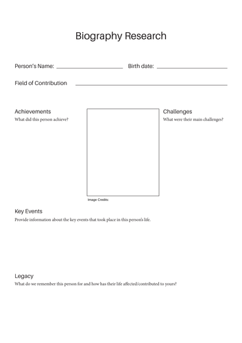 Biography Writing Templates