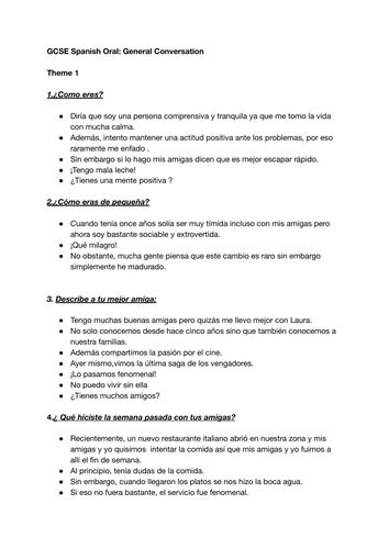 GCSE Spanish Oral Speaking Grade 9 Sample Responses ALL THEMES General Conversation