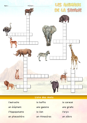[French] Crosswords for kids - Animals of the savannah
