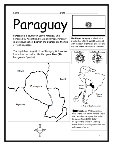 PARAGUAY - Introductory Geography Worksheet - Black & White