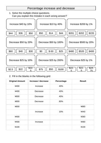 Percentage increase/decrease [Non calc]