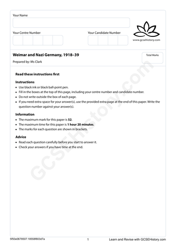 Mock Paper - Weimar and Nazi Germany, 1918–39