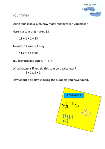 Number investigation - Four numbers