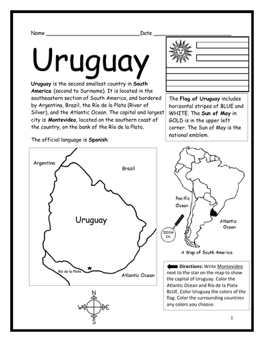 URUGUAY - Introductory Geography Worksheet - Black and White