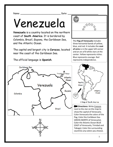 VENEZUELA - Introductory Geography Worksheet - Black and White