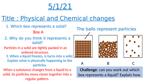 Physical and Chemical changes lesson