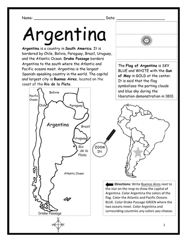 ARGENTINA - Introductory Geography Worksheet - Black and White