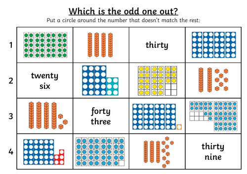 Year 1 Representing Numbers to 50 Worksheets + Extension