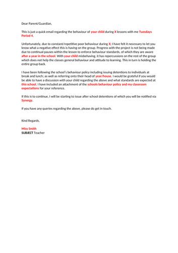 Parent Letter - Poor Behaviour