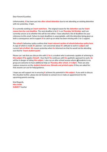 Parent Letter - KS4 Poor Behaviour