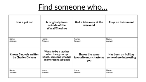 'Find Someone Who...' Activity