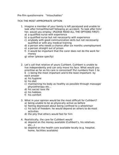 Intouchables - a questionnaire in English to give students BEFORE they watch the film