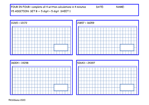 Y5 Arithmetic Four in Four Addition