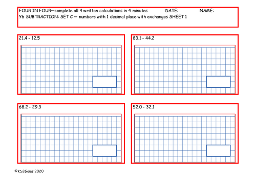 Y6 Arithmetic Four in Four Subtraction