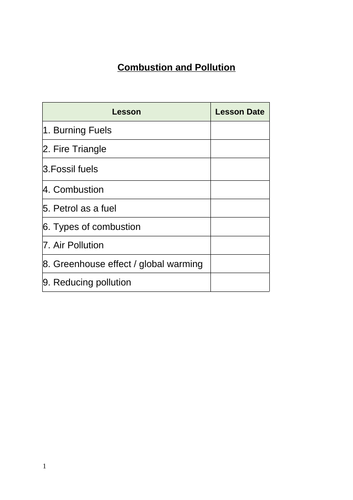 Introducing Combustion and Pollution Booklet