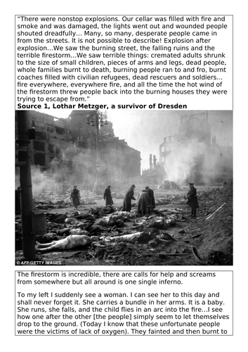 REMEMBERING VE DAY - LESSON - WAS DRESDEN JUSTIFIED OR A WAR CRIME?