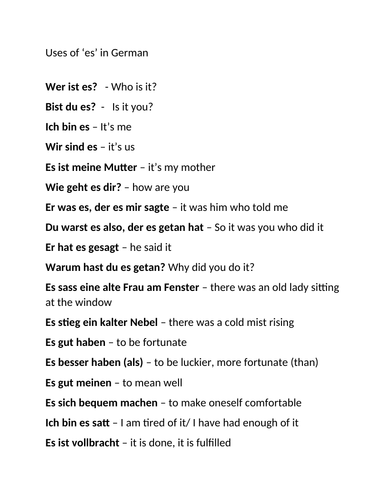 A level German AQA uses of 'es' in German
